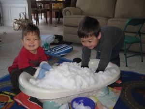 How fun is snow in the house??